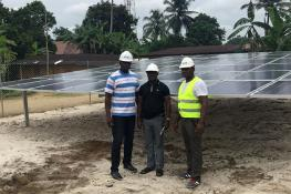 A new solar hybrid  mini grid, built by ACOB Lighting in Nigeria's Bayan Fada community, will generate power for about 1,350 people. Photo: Alexander Obiechina, CEO of ACOB Lighting Technology Limited, Nigeria