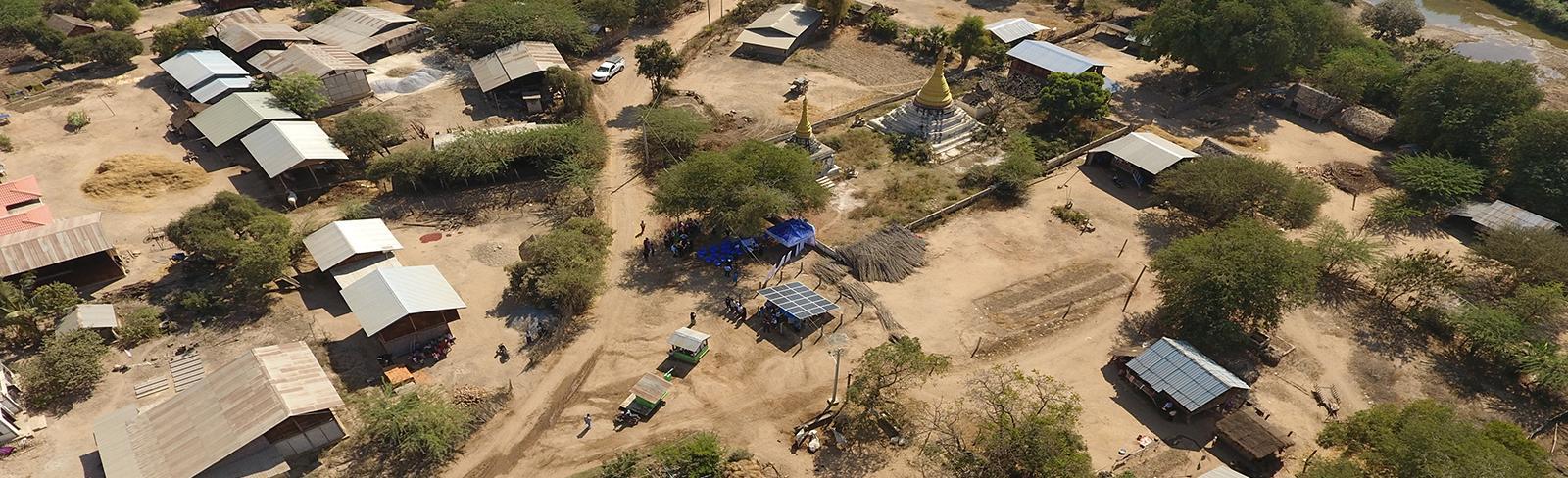 Myanmar aerial view of village