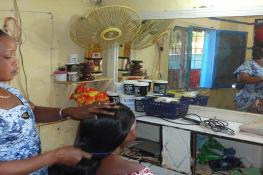 Women at a hair salon in Africa