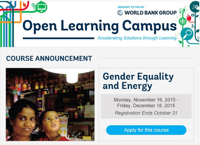 Gender Equality and Energy Online Course