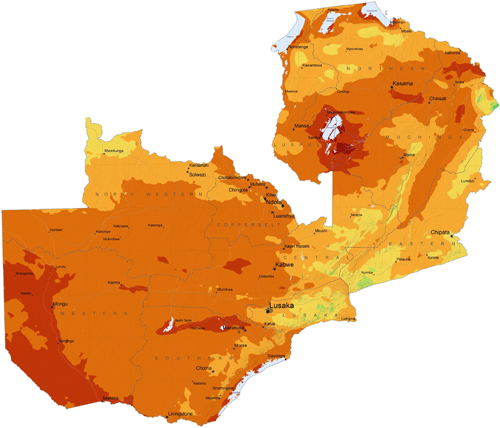 Map of Global Horizontal Irradiance in Zambia